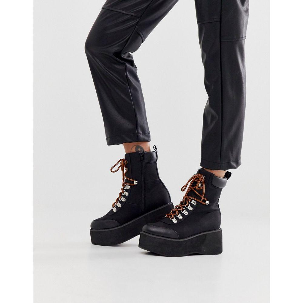トリュフコレクション Truffle Collection レディース ハイキング・登山 ブーツ シューズ・靴【extreme flatform hiker boots】Black nubuck