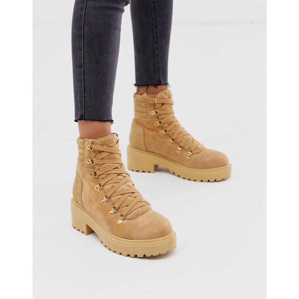 プリティリトルシング PrettyLittleThing レディース ハイキング・登山 ブーツ シューズ・靴【chunky suedette hiker boots in stone】Stone