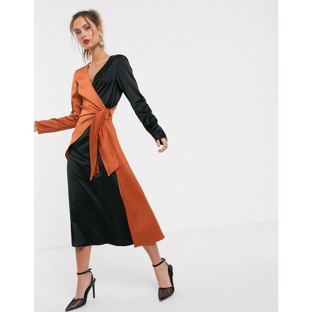 ユニーク21 UNIQUE21 レディース ワンピース ラップドレス ワンピース・ドレス【contast satin wrap dress】Rust/black