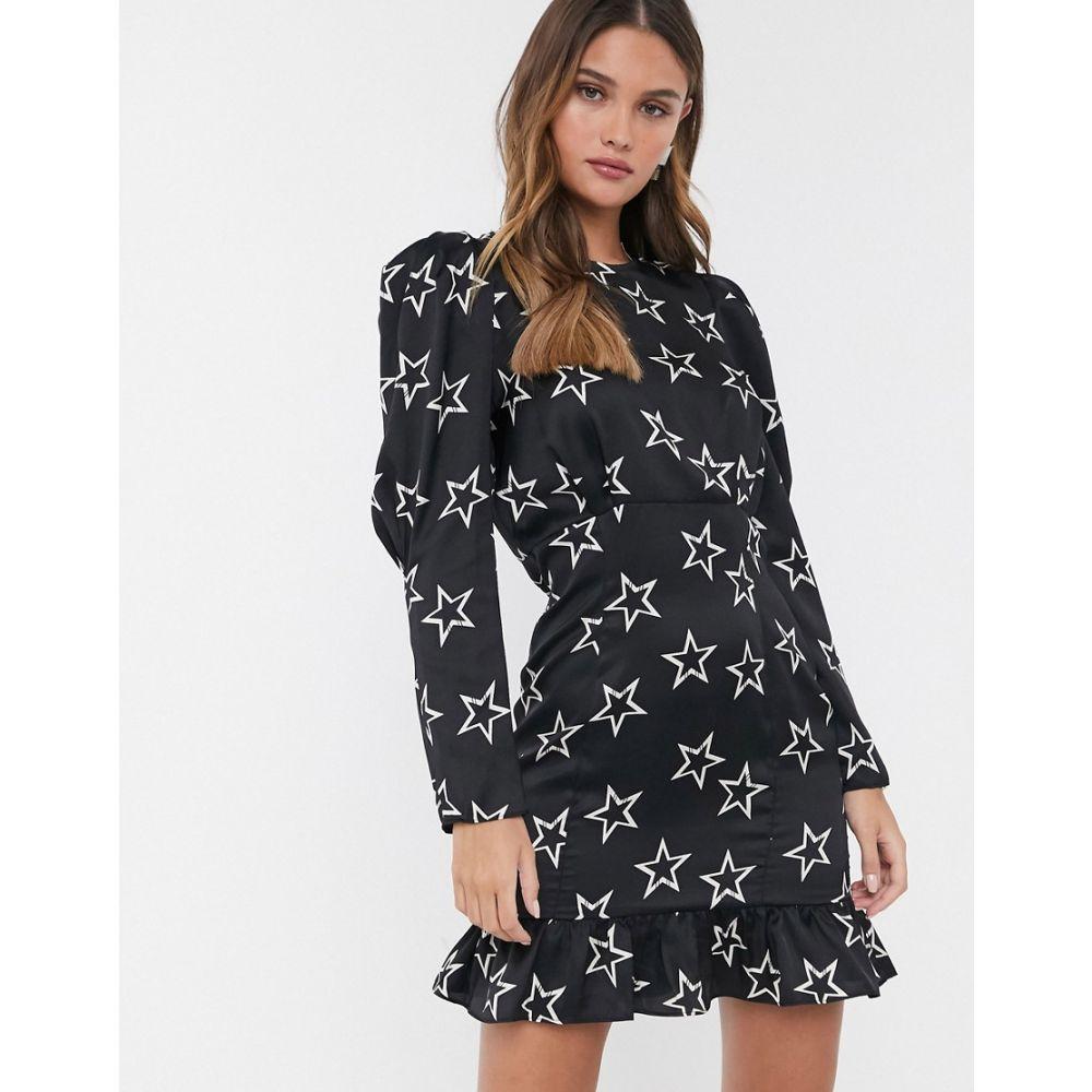 リバーアイランド River Island レディース ワンピース ミニ丈 ワンピース・ドレス【mini dress with puff sleeves in black star print】Black star