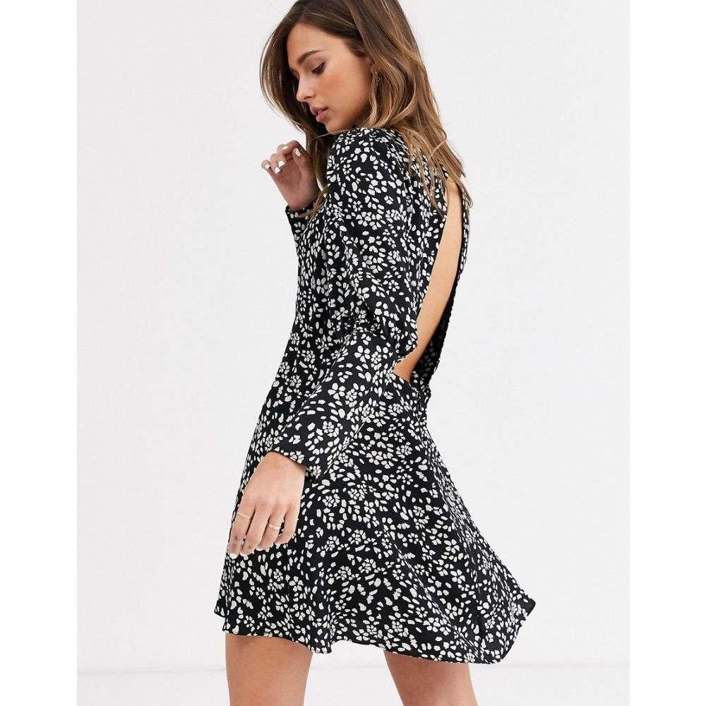 トップショップ Topshop レディース ワンピース ミニ丈 ワンピース・ドレス【mini dress with puff sleeves in black floral】Black