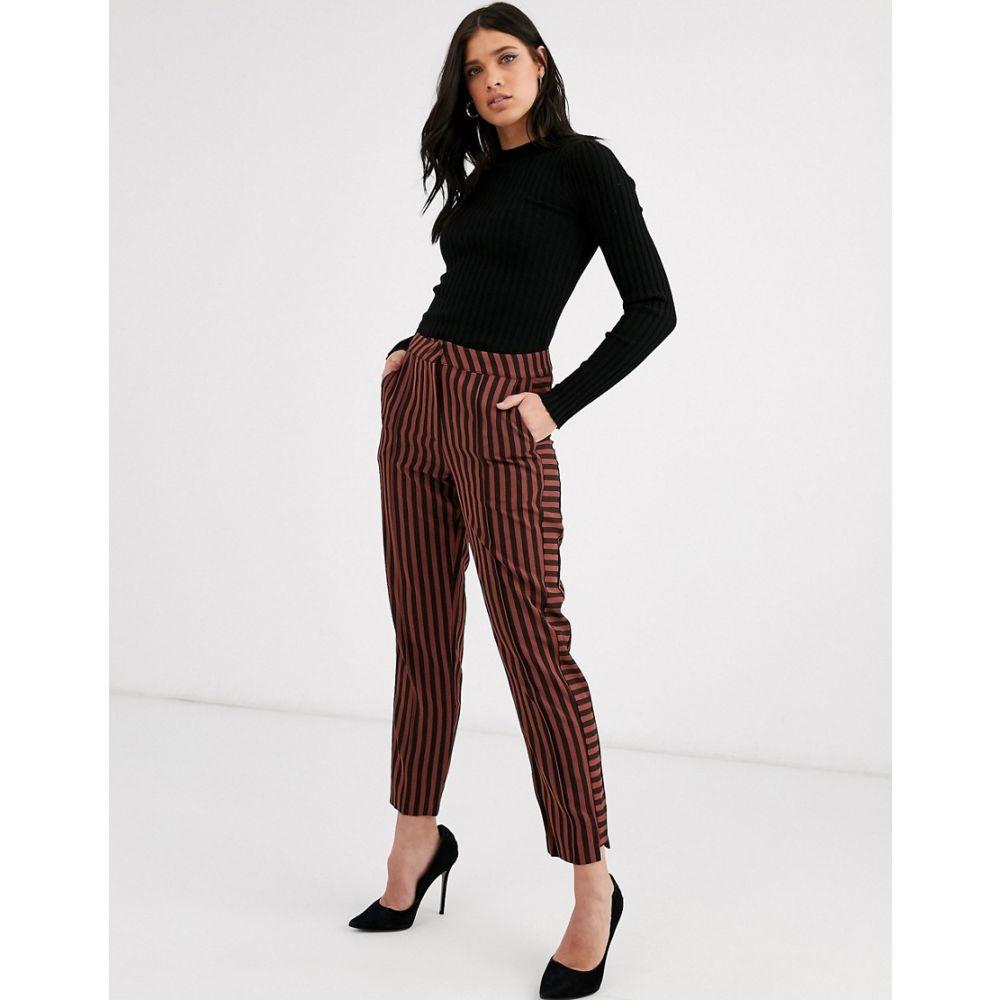 ワイ エー エス Y.A.S レディース ボトムス・パンツ 【stripe tapered trousers】Black/brown