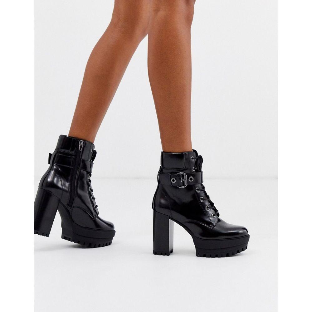 ベルシュカ Bershka レディース ブーツ シューズ・靴【buckle detail heeled boots in black】Black