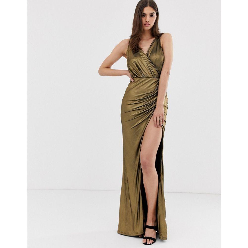 フォーエバーユニーク Forever Unique レディース ワンピース マキシ丈 ワンピース・ドレス【metallic maxi dress with thigh split】Gold