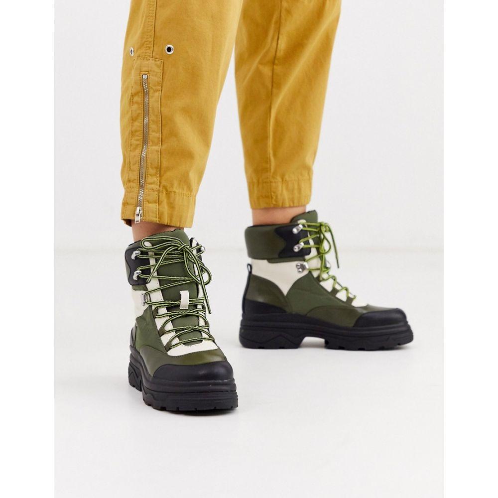 エイソス ASOS DESIGN レディース ブーツ ショートブーツ レースアップブーツ シューズ・靴【advantage sporty flat lace up ankle boots】Khaki