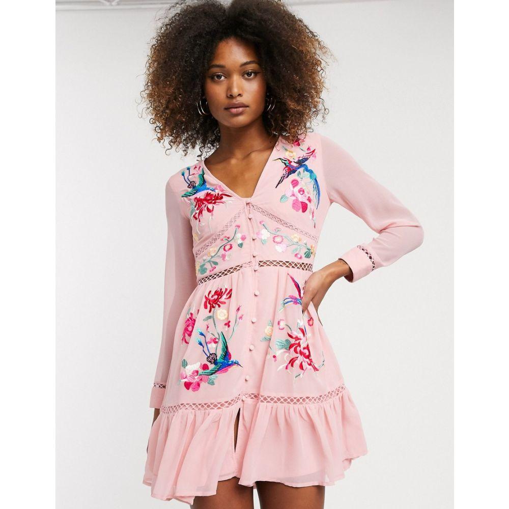 エイソス ASOS DESIGN レディース ワンピース ミニ丈 ワンピース・ドレス【embroidered skater mini dress with lace trims and pephem】Pink