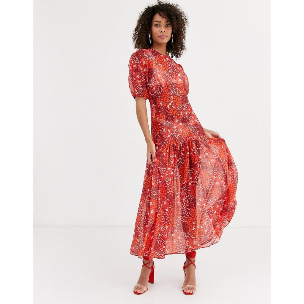 ネバーフリードレス Never Fully Dressed レディース ワンピース ワンピース・ドレス【puff sleeve midi dress in red floral print】Red floral
