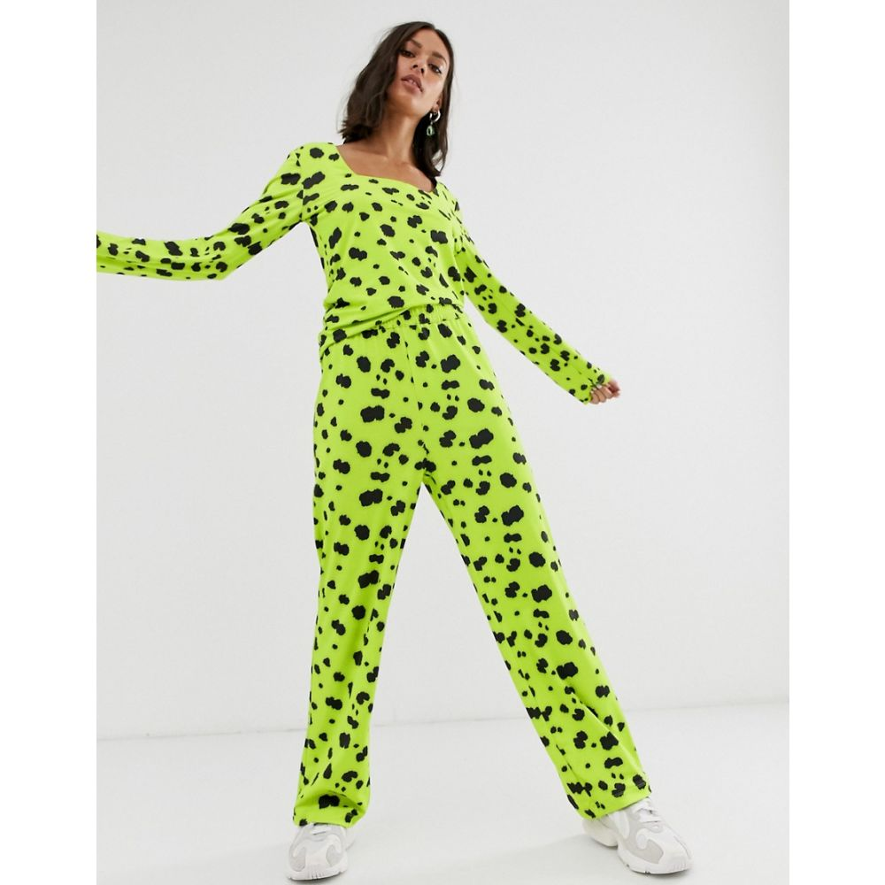 ホイビュルク Hosbjerg レディース ボトムス・パンツ 【straight leg trousers in neon dalmatian spot co-ord】Neon green dalmatian