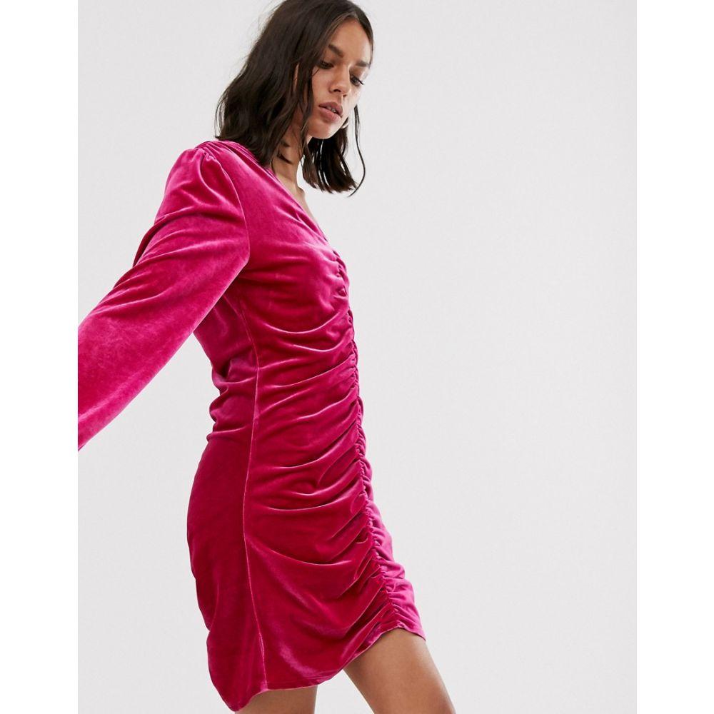 ホイビュルク Hosbjerg レディース ワンピース ワンピース・ドレス【long sleeve velvet dress with ruched front】Pink