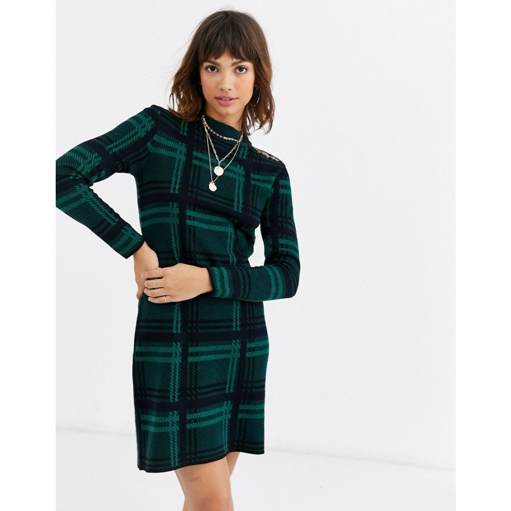 ウェアハウス Warehouse レディース ワンピース ワンピース・ドレス【dress with button shoulders in green check】Tan
