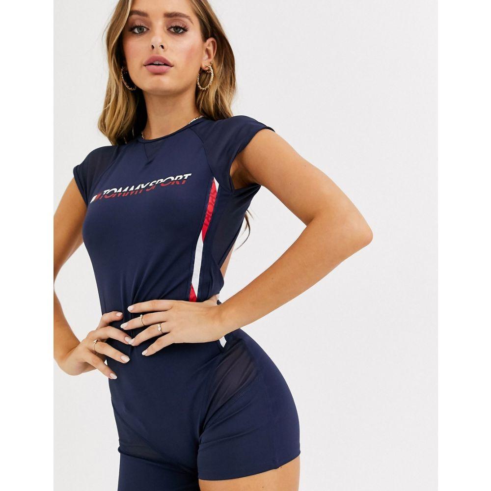 トミー ヒルフィガー Tommy Hilfiger Sport レディース ボディースーツ インナー・下着【mesh insert bodysuit with logo tape side seam detail in navy】Sport navy