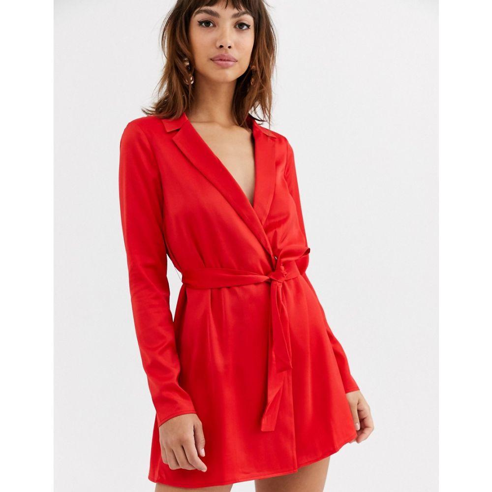 エイソス ASOS DESIGN レディース ワンピース ミニ丈 ワンピース・ドレス【satin tux mini dress with self belt】Red
