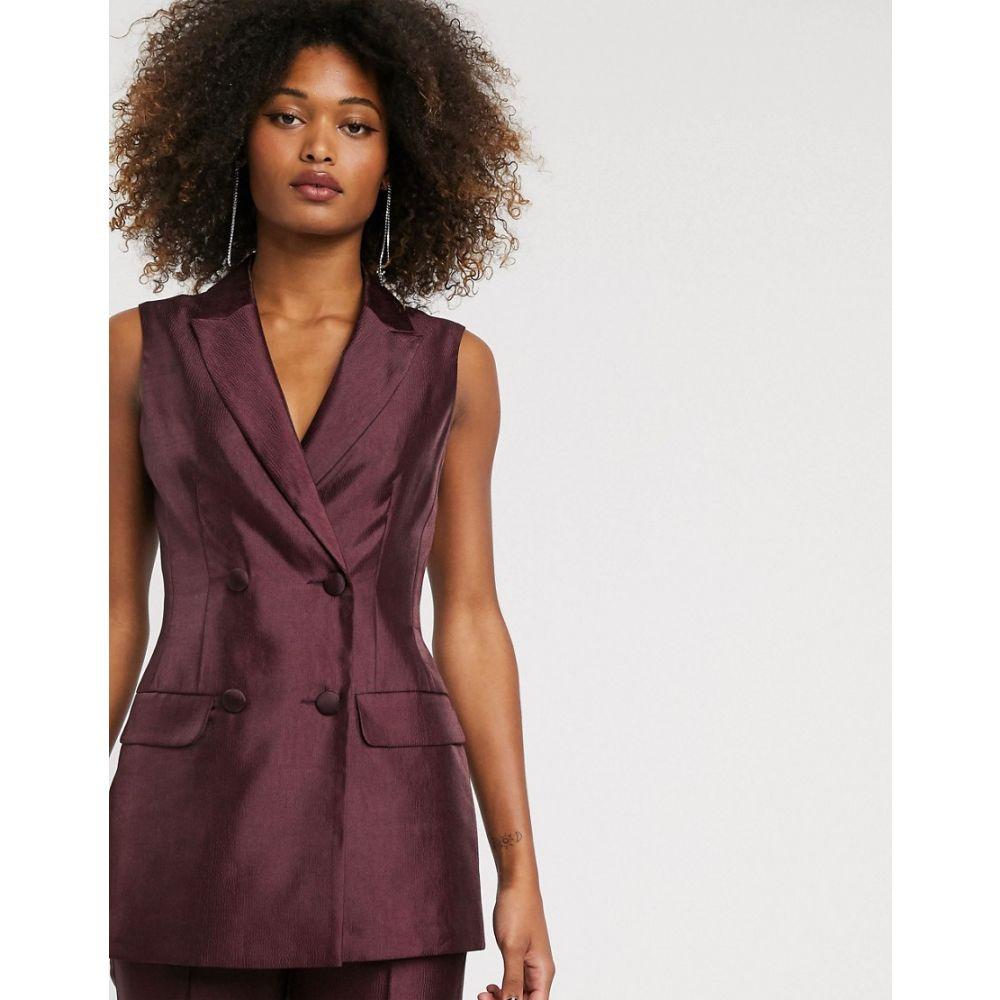 エイソス ASOS DESIGN レディース スーツ・ジャケット アウター【sleeveless double breasted suit blazer in textured satin】Oxblood
