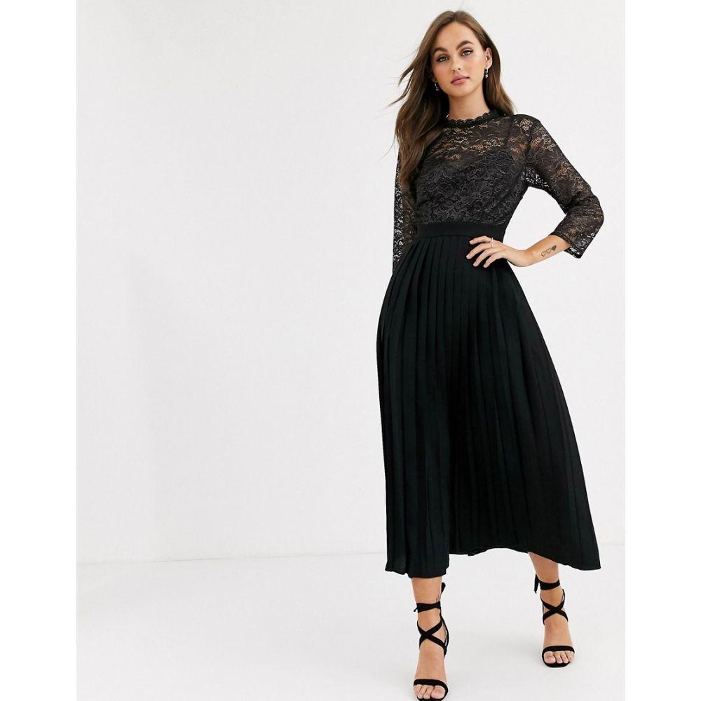 リトル ミストレス Little Mistress レディース ワンピース ワンピース・ドレス【pleated midaxi dress with metallic lace in black】Black