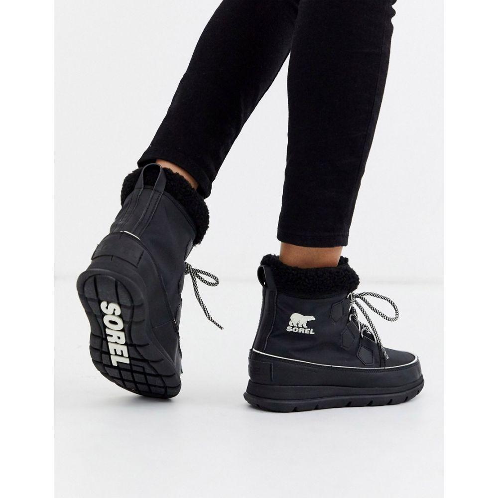 ソレル Sorel レディース ブーツ シューズ・靴【Carnival waterproof black nylon boots with microfleece lining】Black