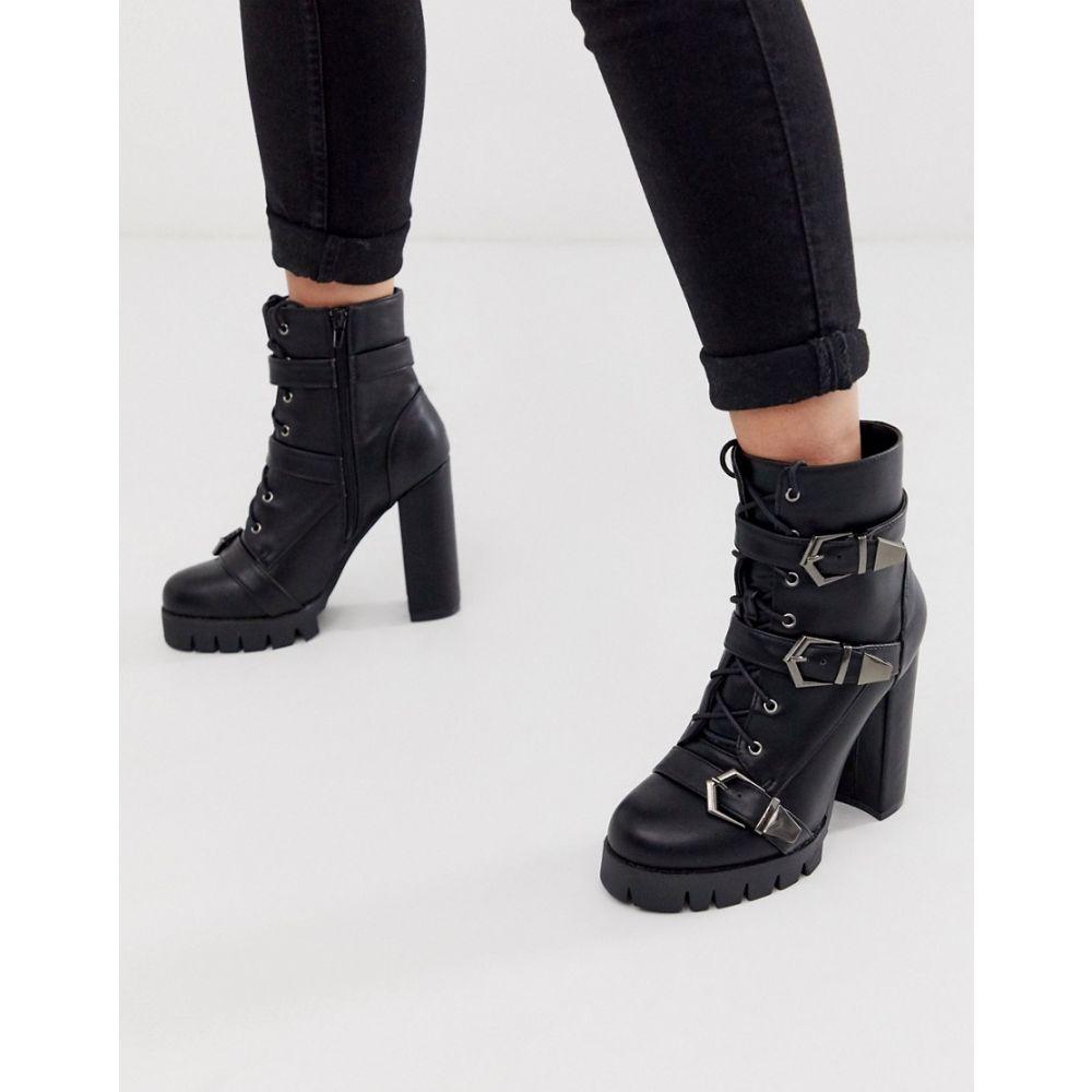 シミ SIMMI Shoes レディース ブーツ チャンキーヒール シューズ・靴【Simmi London Jodie black chunky buckle detail boots】Black