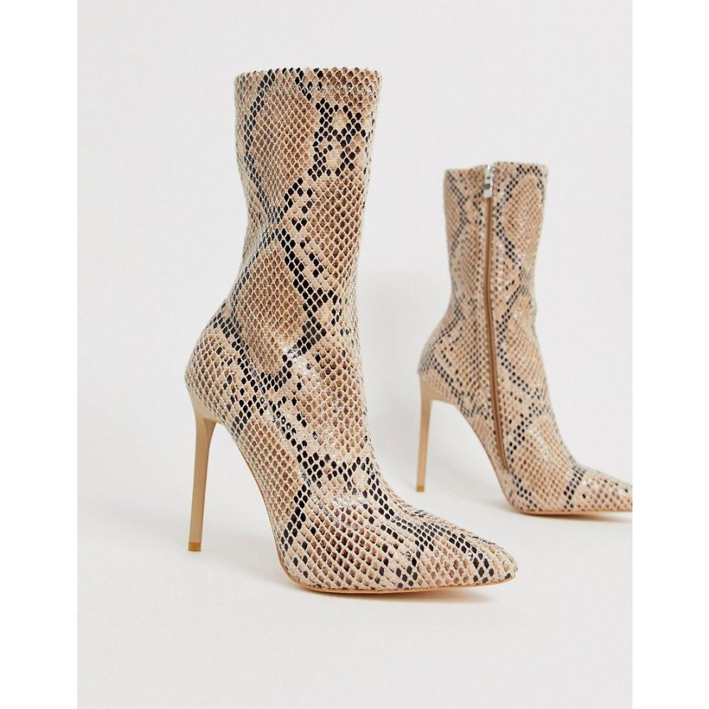 シミ SIMMI Shoes レディース ブーツ ピンヒール シューズ・靴【Simmi London Tiana snake effect stiletto boots】Beige snake