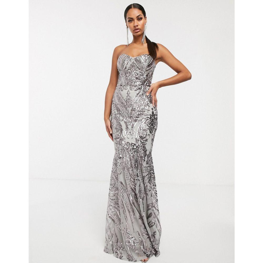 クラブエル ロンドン Club L London レディース ワンピース マキシ丈 ワンピース・ドレス【baroque bandeau sequin maxi dress】Silver