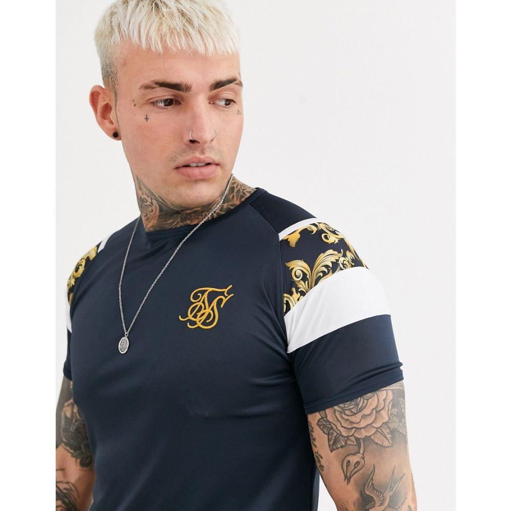 シックシルク SikSilk メンズ Tシャツ トップス【muscle t-shirt in navy with arm print】Navy