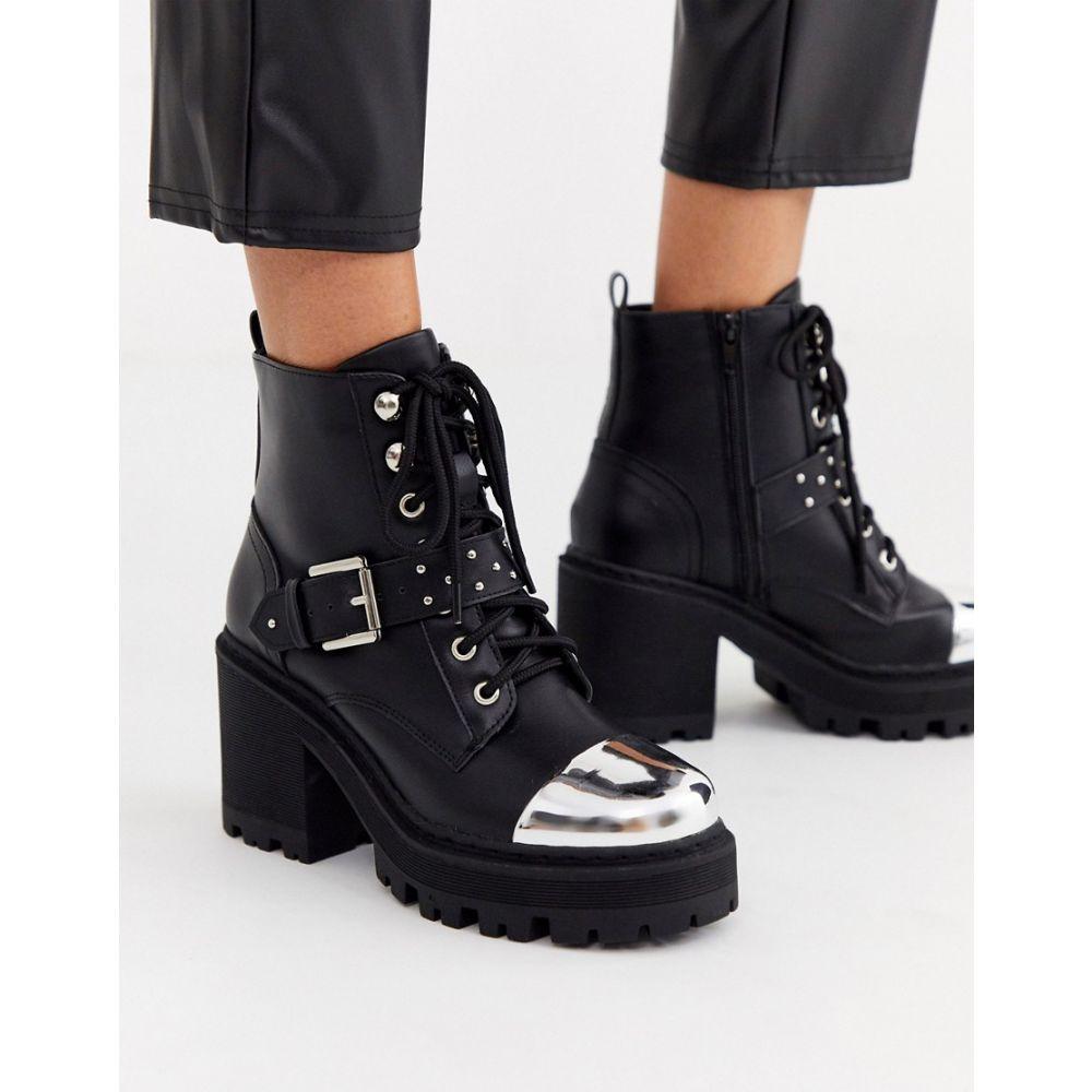トリュフコレクション Truffle Collection レディース ブーツ チャンキーヒール シューズ・靴【heeled chunky buckle boot】Black pu