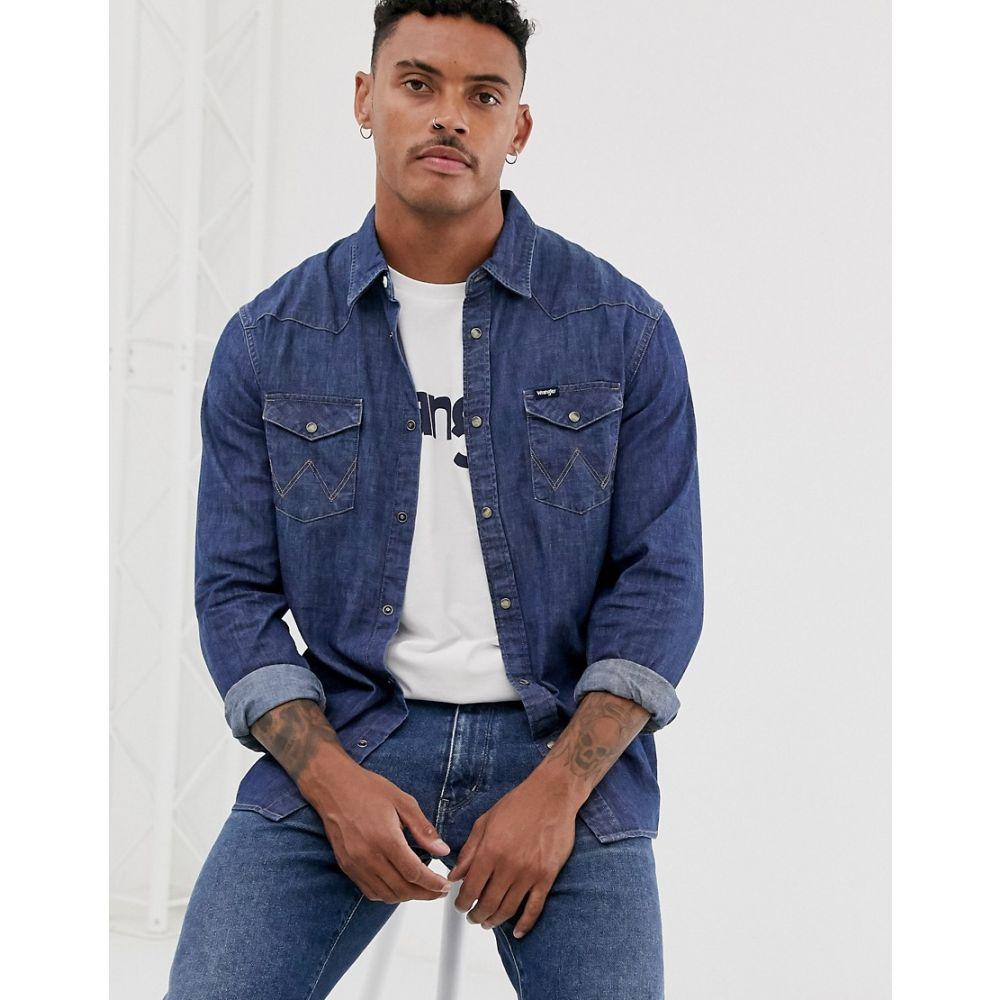 ラングラー Wrangler メンズ シャツ デニム ウエスタンシャツ トップス【denim western shirt in navy】Dark indigo