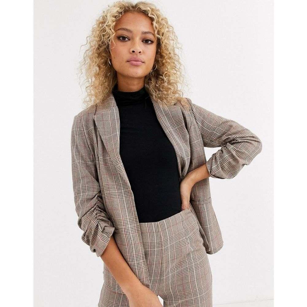 パリジャン Parisian レディース スーツ・ジャケット アウター【check tailored blazer】Brown check
