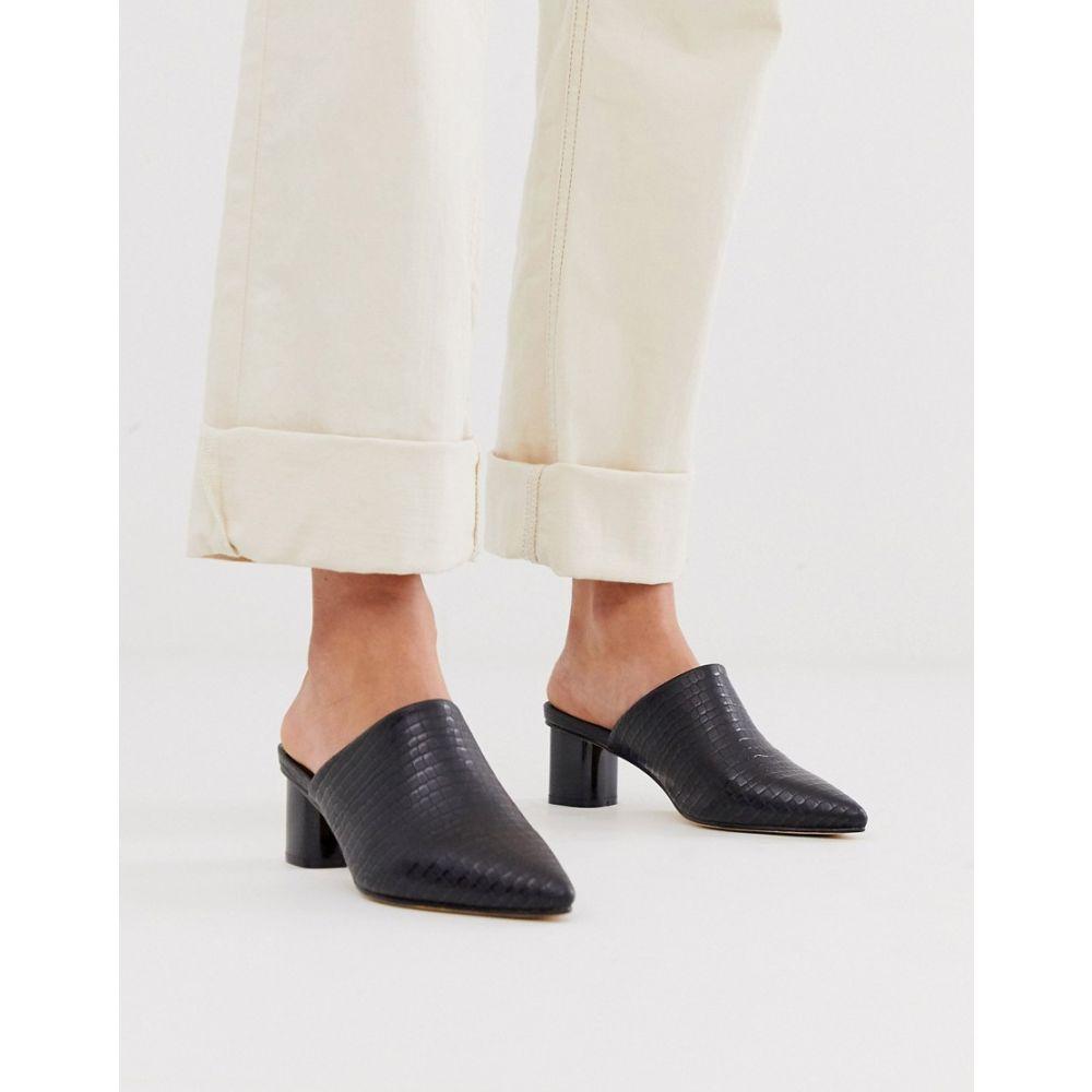 コー レン Co Wren レディース サンダル・ミュール シューズ・靴【pointed heeled mules in black croc】Black croc