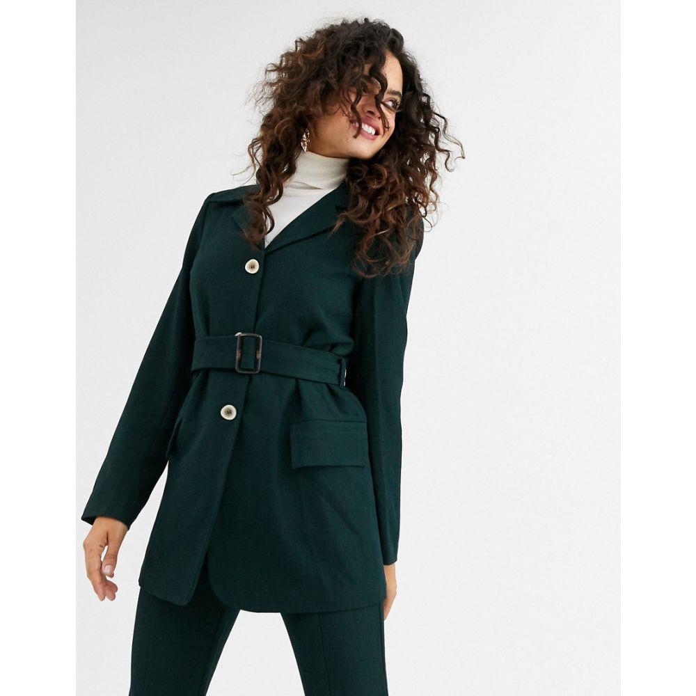 ユニーク21 UNIQUE21 レディース スーツ・ジャケット アウター【Unique21 belted wool blazer】Teal