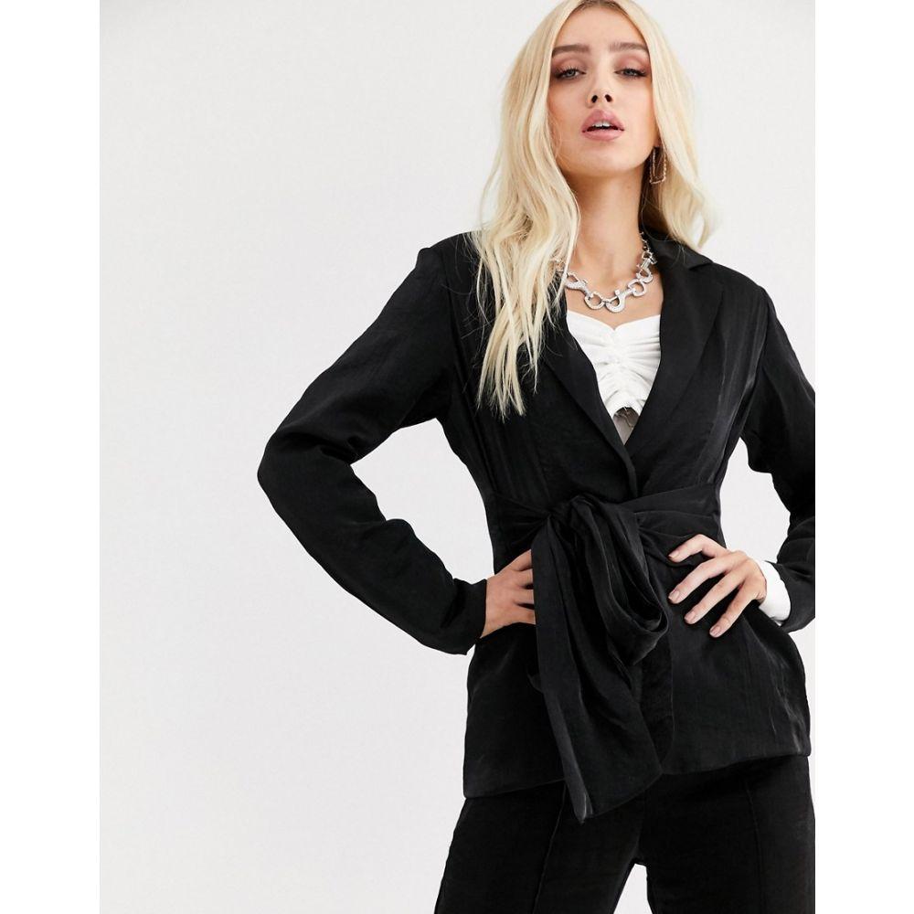ユニーク21 UNIQUE21 レディース スーツ・ジャケット アウター【relazed blazer with tie waist in shimmer co-ord】Black shimmer