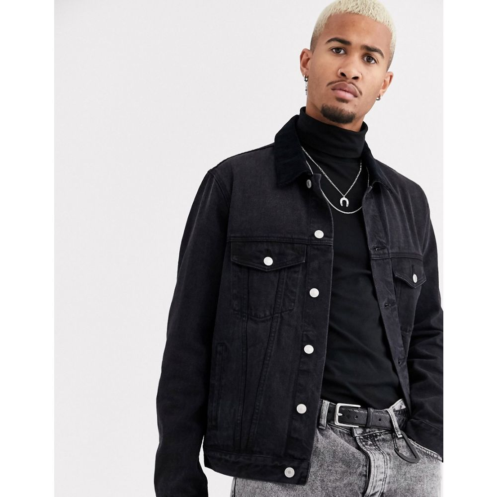 トップマン Topman メンズ ジャケット Gジャン アウター【denim jacket with cord collar in black】Black