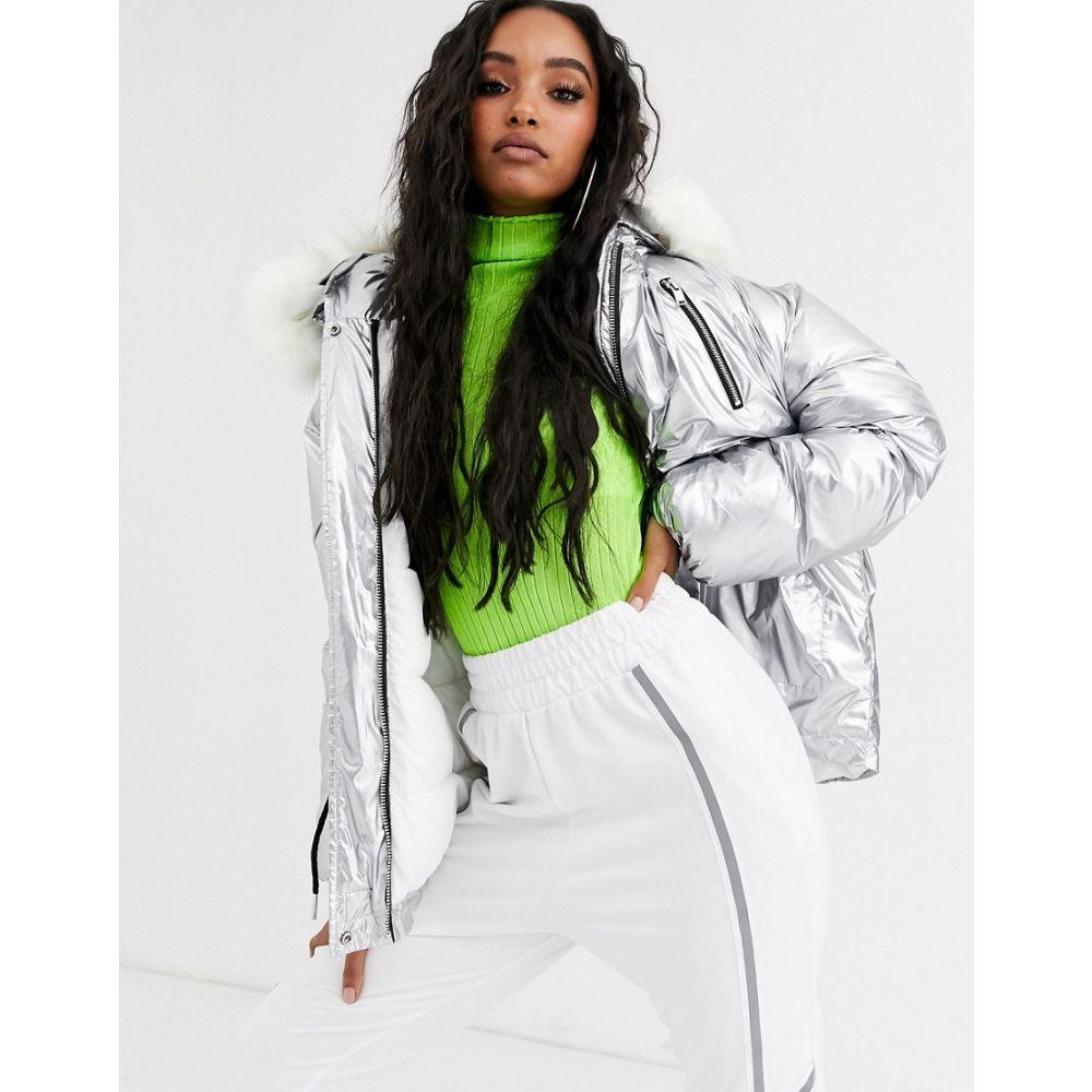 シックススジューン Sixth June レディース ジャケット アウター【oversized jacket with drawcord waist and faux fur hood in silver】Silver