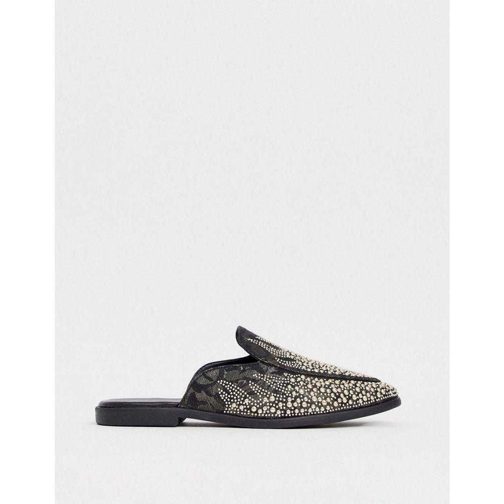 エイソス ASOS DESIGN メンズ ローファー シューズ・靴【loafers in black faux suede with all over jewel encrusted detail】Black