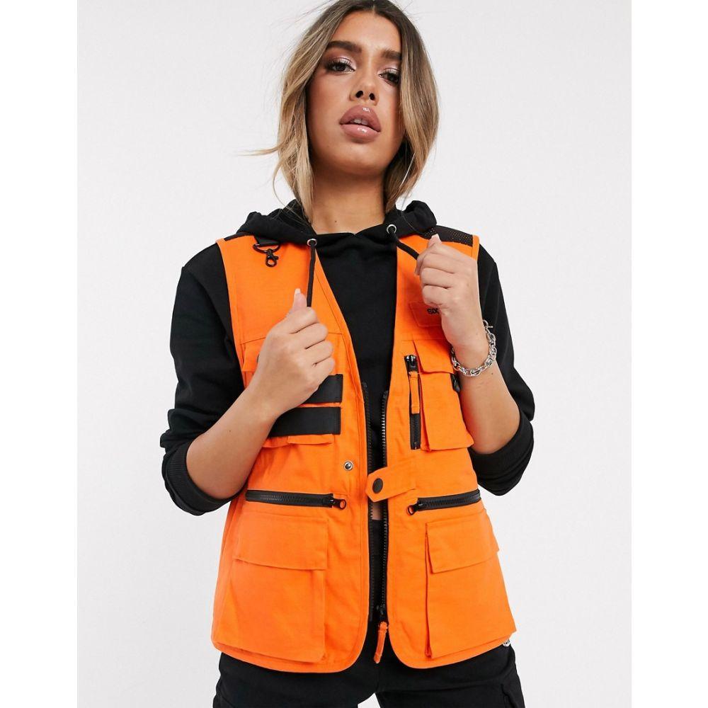 シックススジューン Sixth June レディース タンクトップ トップス【utility vest with hardware detail and front logo】Orange