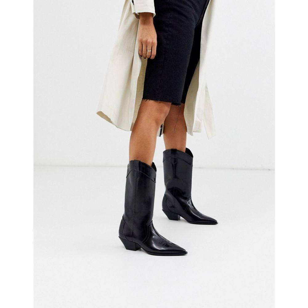 エイソス ASOS DESIGN レディース ブーツ ウェスタンブーツ シューズ・靴【Capricorn western pull on knee boots in black】Black