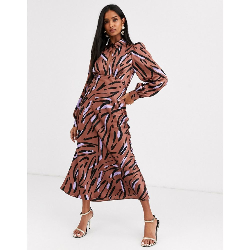 エイソス ASOS DESIGN レディース ワンピース ワンピース・ドレス【maxi satin tea dress with collar in abstract zebra print】Brown/lilac zebra