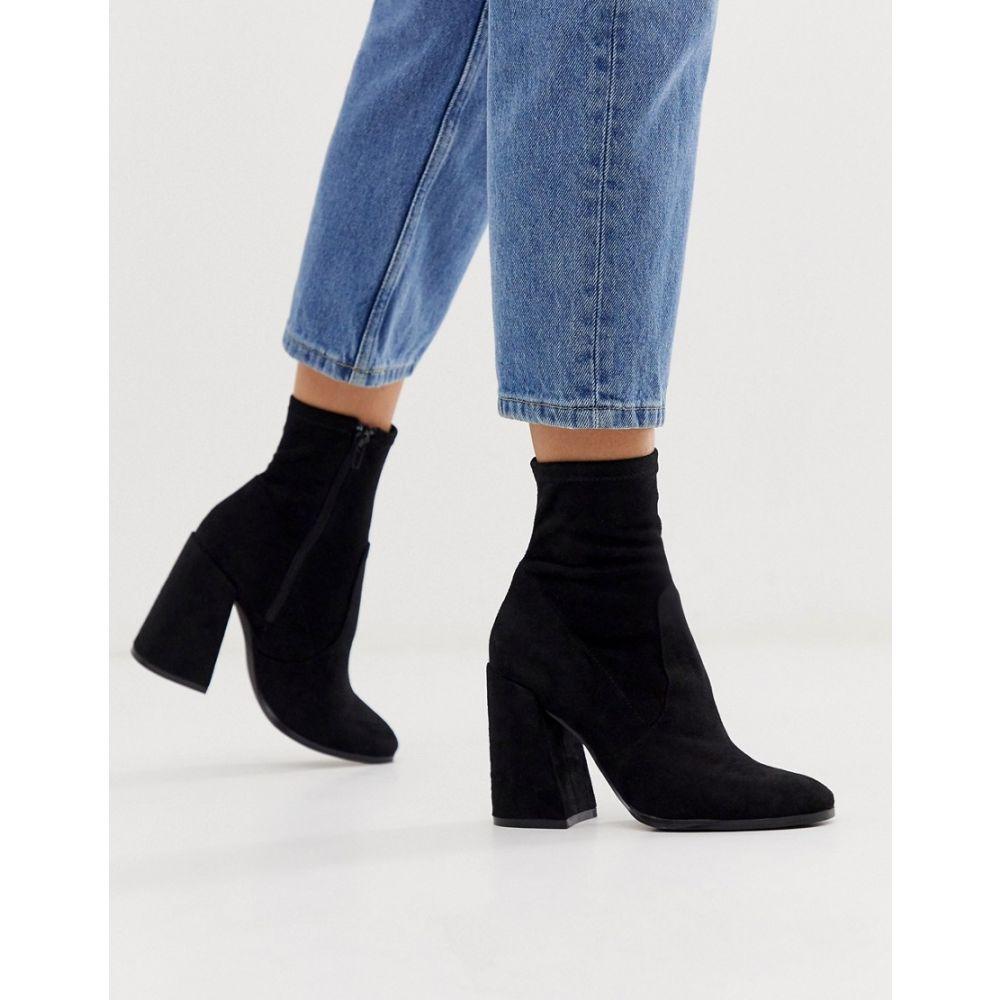 エイソス ASOS DESIGN レディース ブーツ シューズ・靴【Ellan heeled sock boots in black】Black