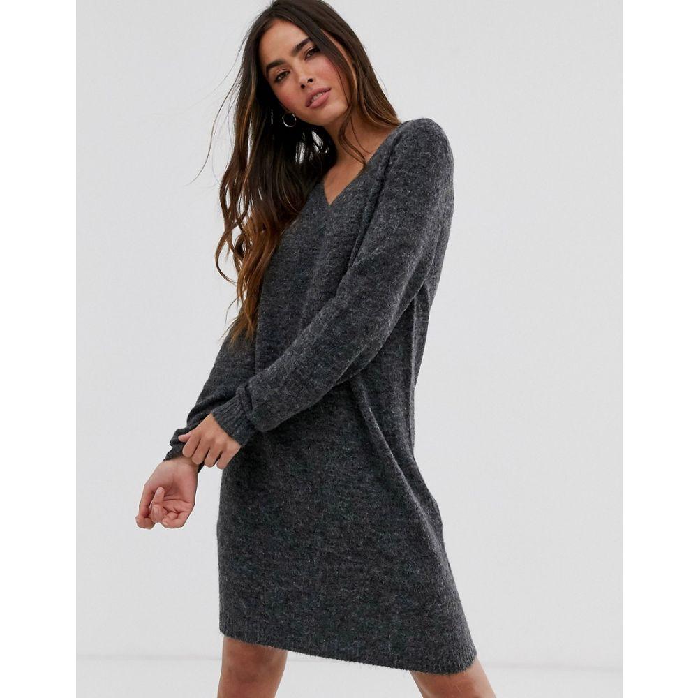 ヴィラ Vila レディース ワンピース Vネック ミニ丈 ワンピース・ドレス【jumper mini dress with v-neck in grey】Grey