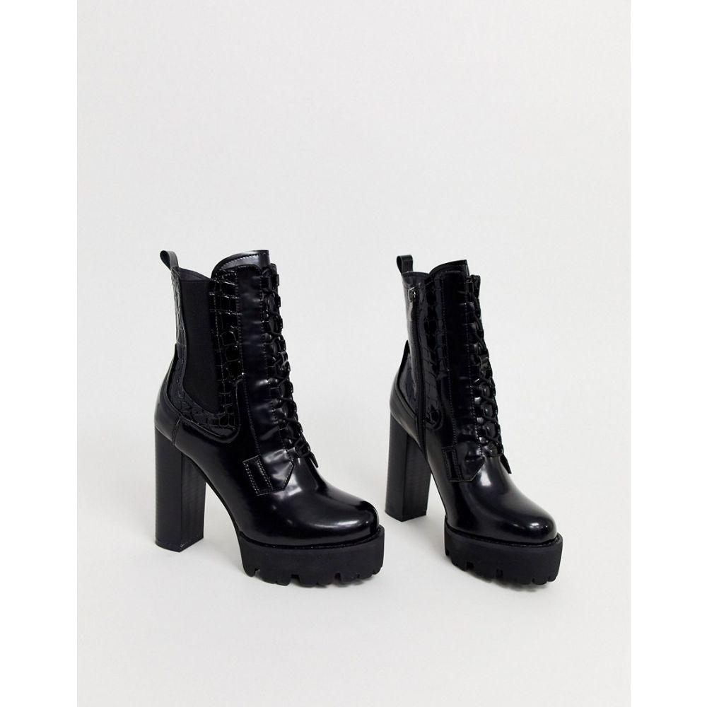 レイド Raid レディース ブーツ チャンキーヒール シューズ・靴【RAID Ashlynn black chunky heeled hiker boots】Black box pu