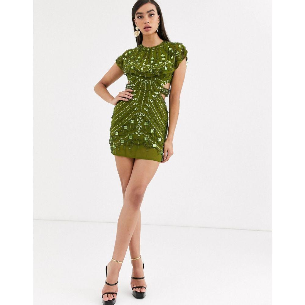 エイソス ASOS DESIGN レディース ワンピース ミニ丈 ワンピース・ドレス【embellished cape mini dress】Green