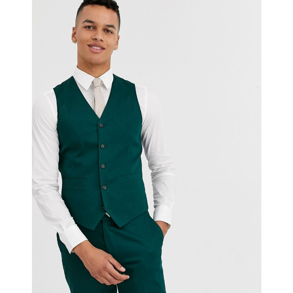 エイソス ASOS DESIGN メンズ ベスト・ジレ トップス【wedding skinny suit waistcoat in cotton in forest green】Green