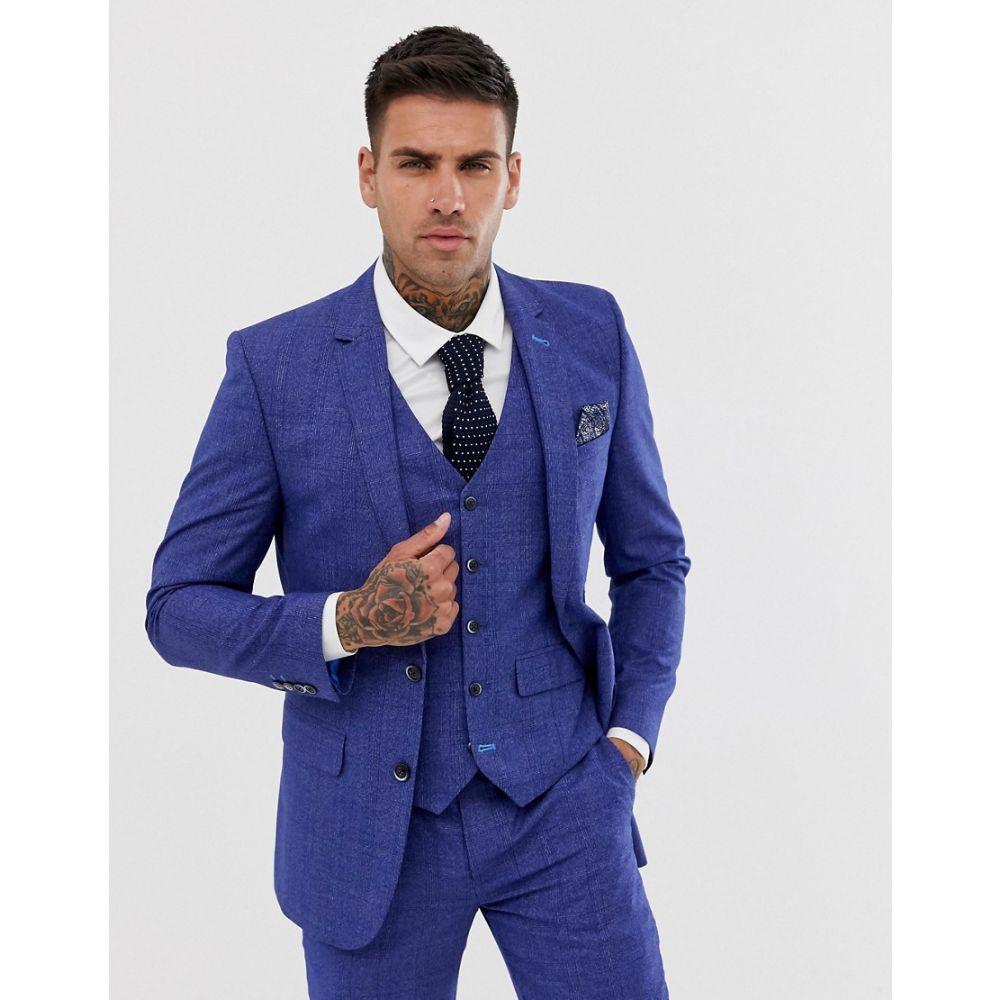 ハリー ブラウン Harry Brown メンズ スーツ・ジャケット アウター【slim fit mid blue check suit jacket】Blue