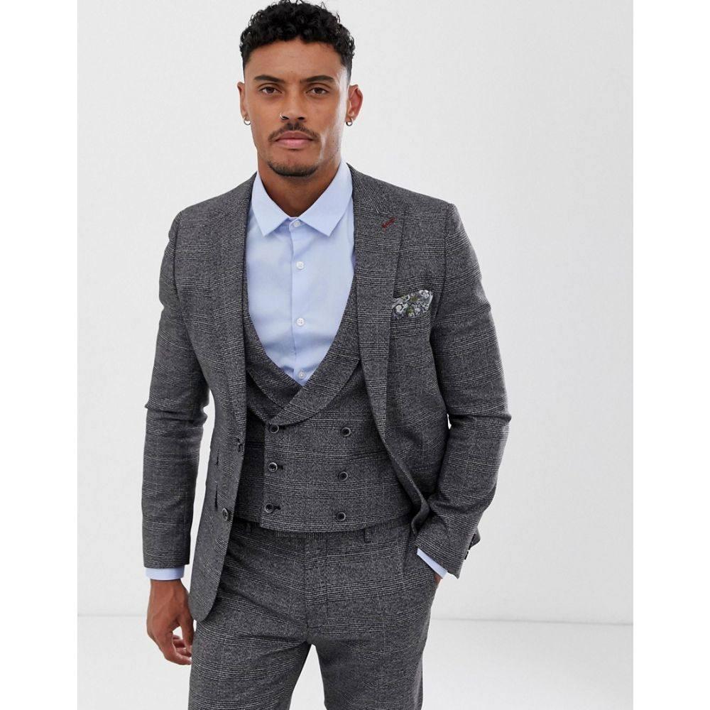 ハリー ブラウン Harry Brown メンズ スーツ・ジャケット アウター【slim fit textured grey check suit jacket】Grey