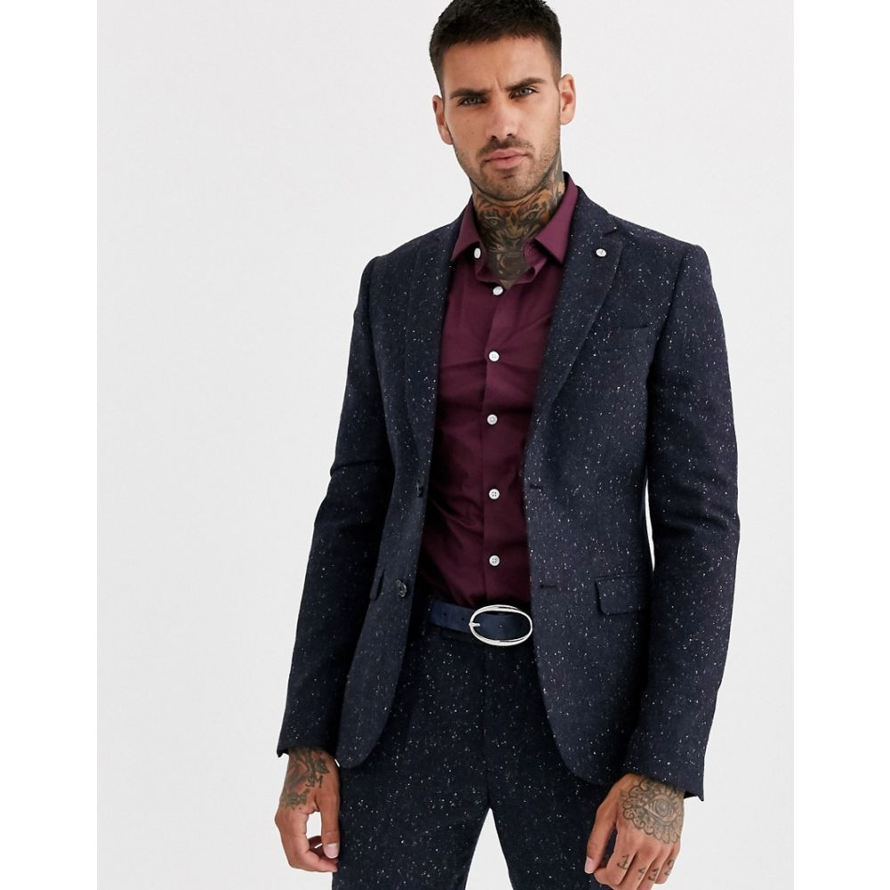 アヴェイルロンドン AVAIL London メンズ スーツ・ジャケット アウター【Avail London skinny suit jacket in navy flecked tweed】Navy