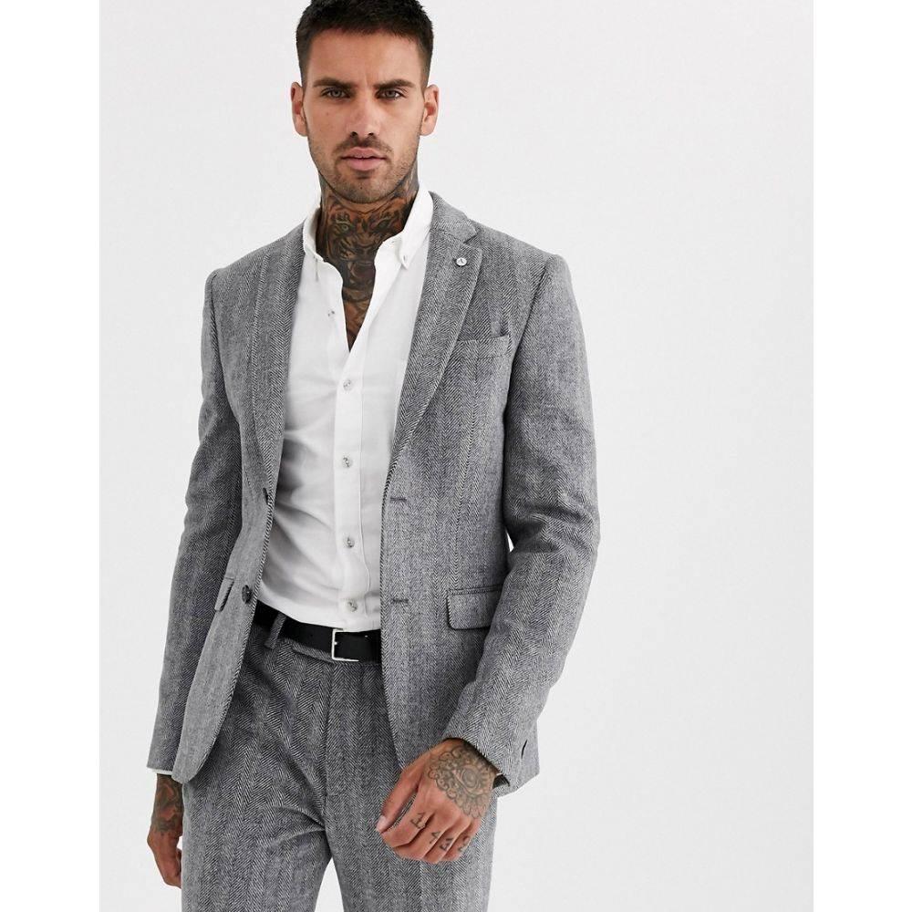 アヴェイルロンドン AVAIL London メンズ スーツ・ジャケット アウター【Avail London skinny suit jacket in grey herringbone tweed】Grey