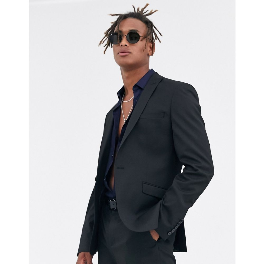 ハートアンドダガー Heart & Dagger メンズ スーツ・ジャケット アウター【Heart and dagger skinny suit jacket in black】Black