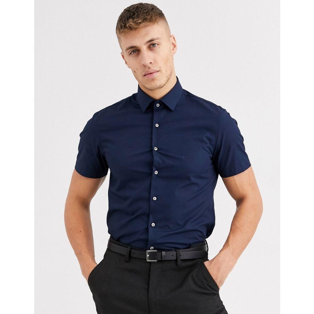 カルバンクライン Calvin Klein メンズ 半袖シャツ トップス【poplin stretch slim short sleeve shirt】Blue