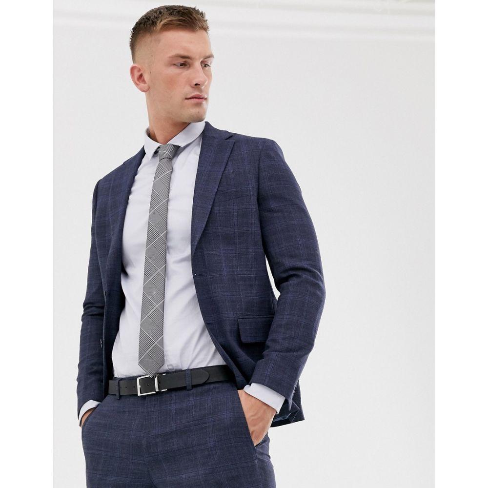 モス ブラザーズ MOSS BROS メンズ スーツ・ジャケット アウター【Moss London suit jacket in blue check】Navy