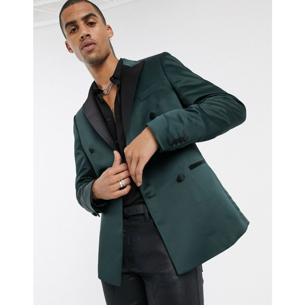 エイソス ASOS DESIGN メンズ スーツ・ジャケット アウター【slim double breasted blazer in green satin】Green