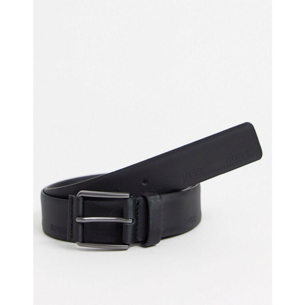 ヒューゴ ボス BOSS メンズ ベルト 【Ther-I logo detail belt in black】Black