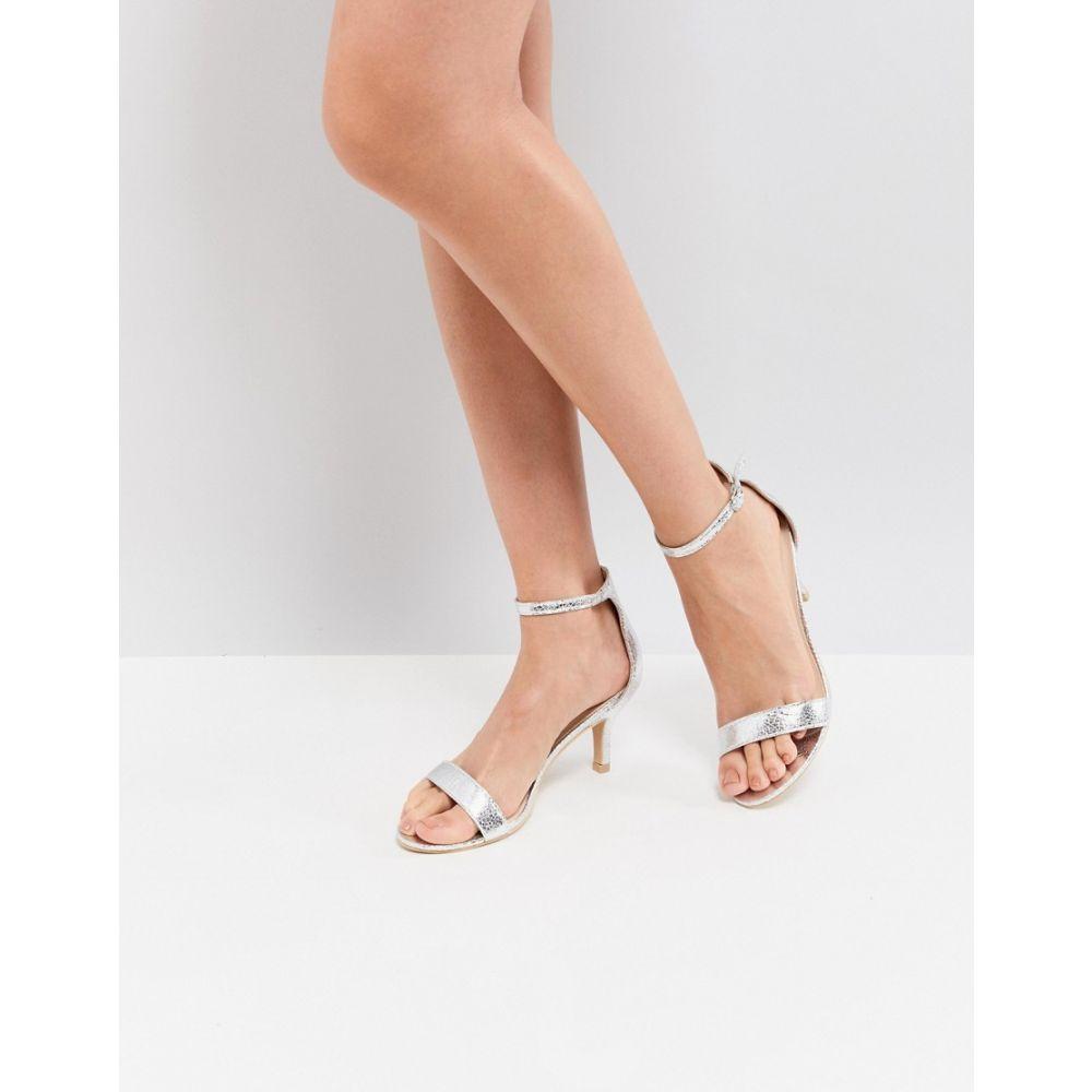 グラマラス Glamorous レディース サンダル・ミュール シューズ・靴【Silver Barely There Kitten Heeled Sandals】Silver